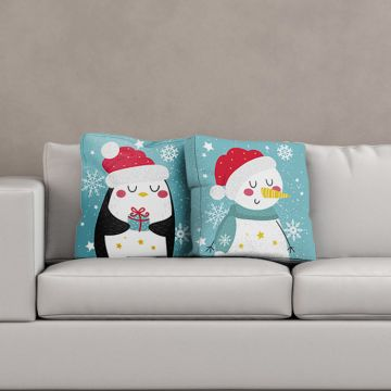 Cuscino Christmas Snowman And Penguin