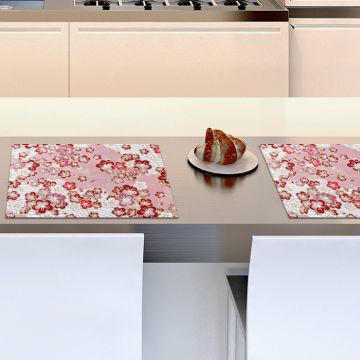 Coppia Tovagliette Set Americana Pink and Red Flowers