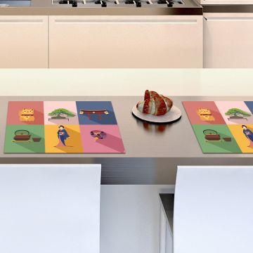Coppia Tovagliette Set Americana Colorful Icons