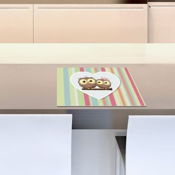 Coppia Tovagliette Set Americana Owls Love
