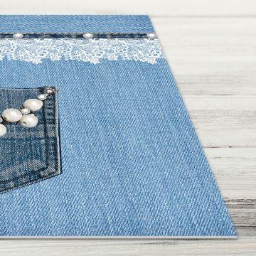 Coppia Tovagliette Set Americana Pocket Jeans Pearls