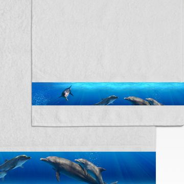 Coppia Salviette Bagno Dolphins