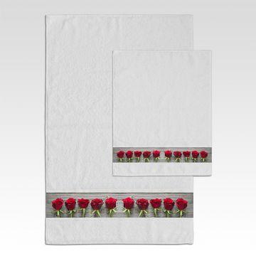 Coppia Salviette Bagno Roses