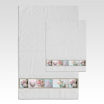 Coppia Salviette Bagno Hearts and Flowers