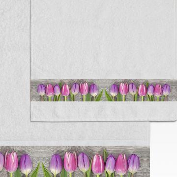 Coppia Salviette Bagno Heart and Tulips
