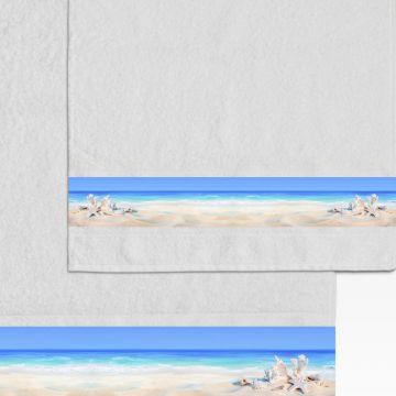 Coppia Salviette Bagno Shells and Beach